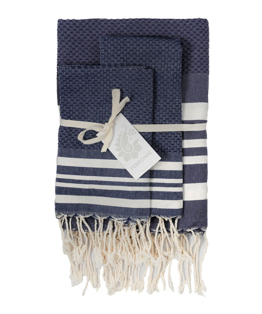 3pc Hamptons denim cotton towel set Sale - FEBRONIE