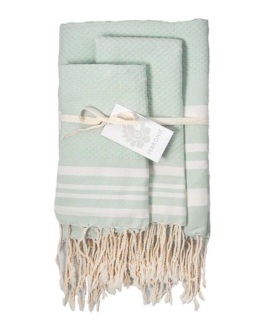 3pc Hamptons mint cotton towel set Sale - FEBRONIE