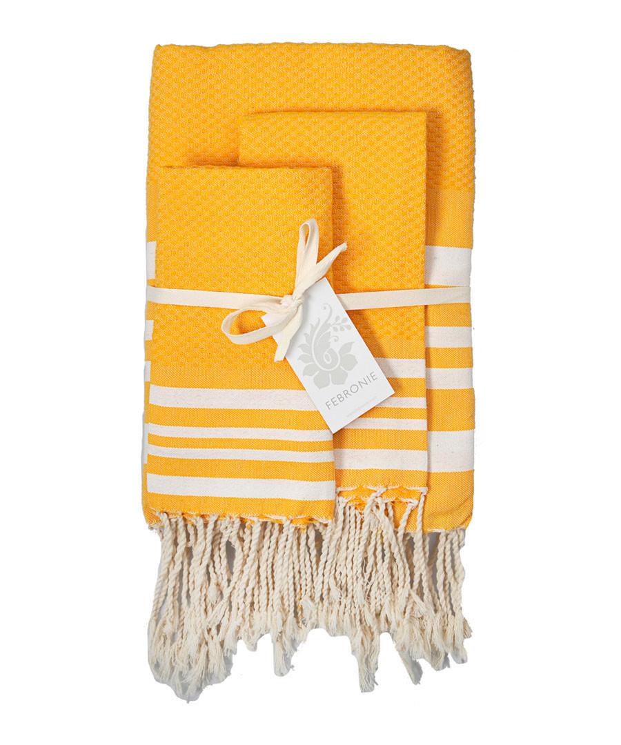 3pc Hamptons yellow cotton towel set Sale - FEBRONIE