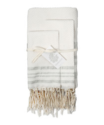 3pc Hamptons white cotton towel set