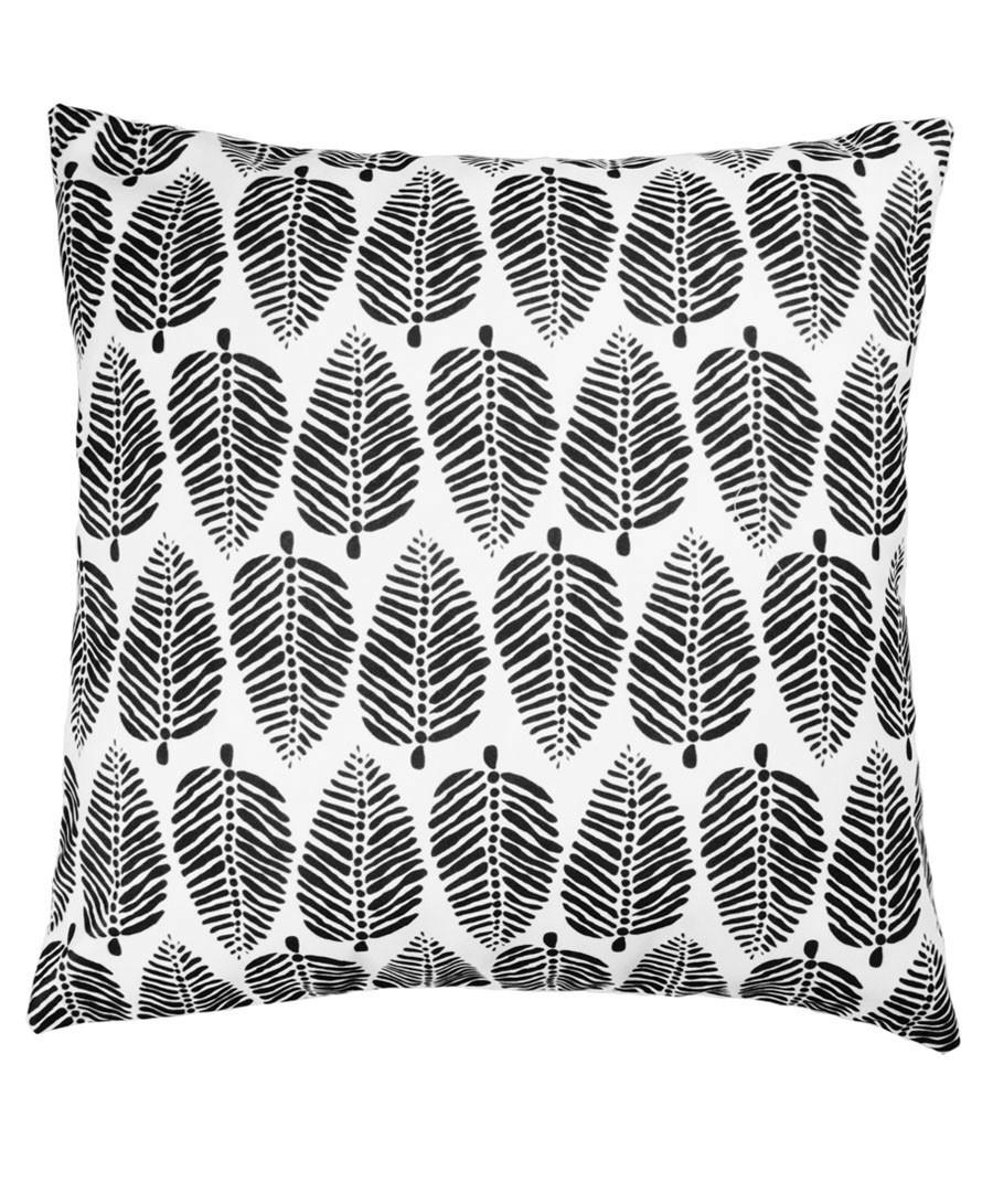 Ecru & black leaf cushion cover 50cm Sale - febronie