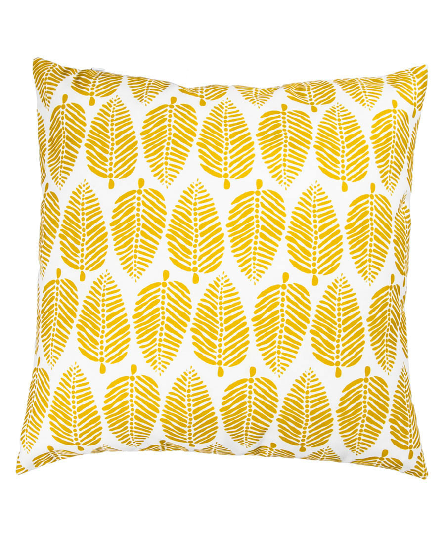 Ecru & mustard leaf cushion cover 50cm Sale - febronie
