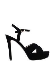 Black strappy peeptoe heels