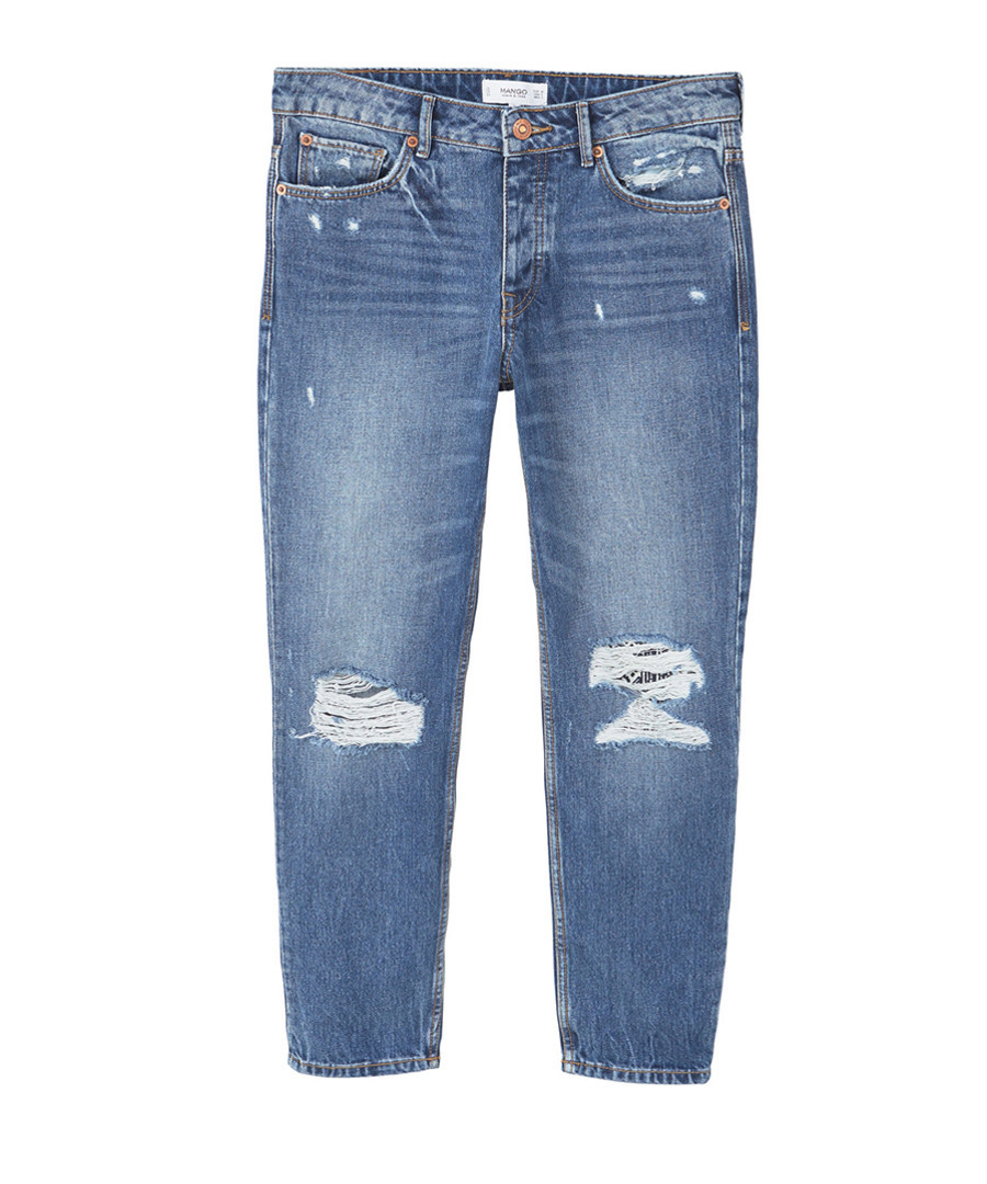 Dark blue cotton ripped knee jeans Sale - Mango