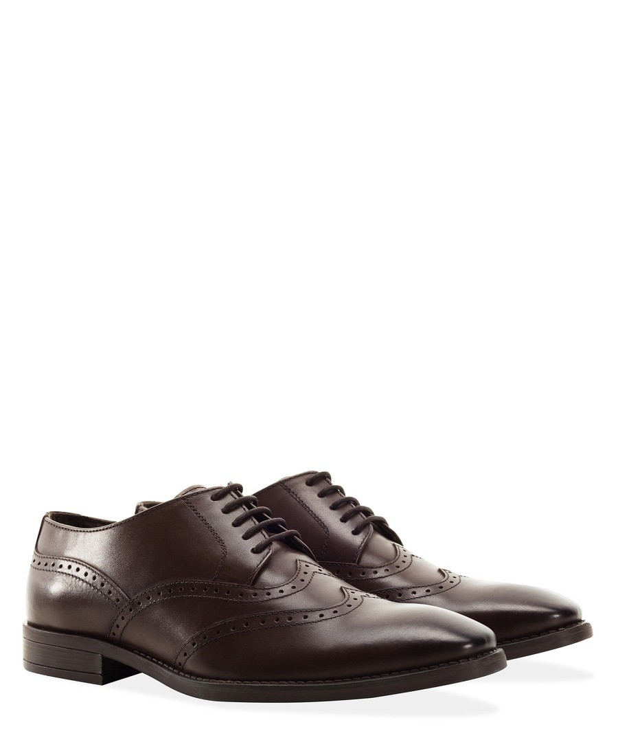 BROWN MENS SQUARE TOE DOUBLE WING BROGUE Sale - REDFOOT