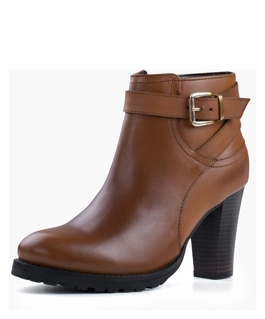 LADIES TAN HEELED BUCKLE BOOT Sale - REDFOOT