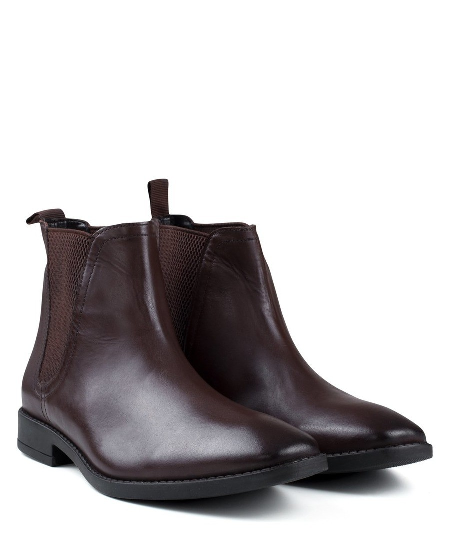 MENS BROWN LEATHER SQUARE TOE CHELSEA BOOT Sale - REDFOOT
