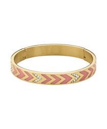 Aponi gold-tone & rose crystal bangle