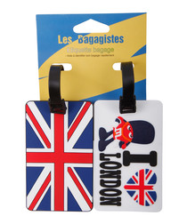 2pc Blue & red London luggage tags