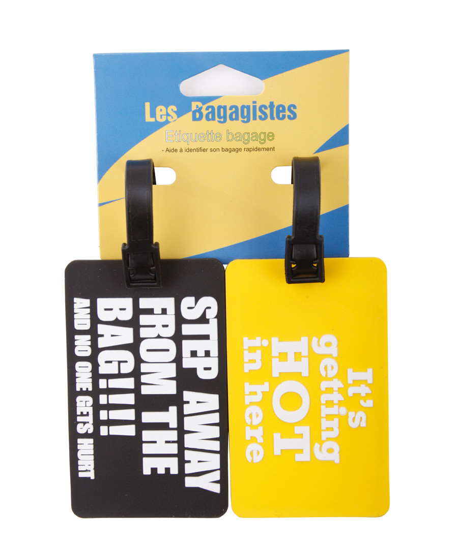 2pc Black & yellow printed luggage tags Sale - les bagagistes