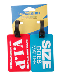 2pc Red & blue printed luggage tags