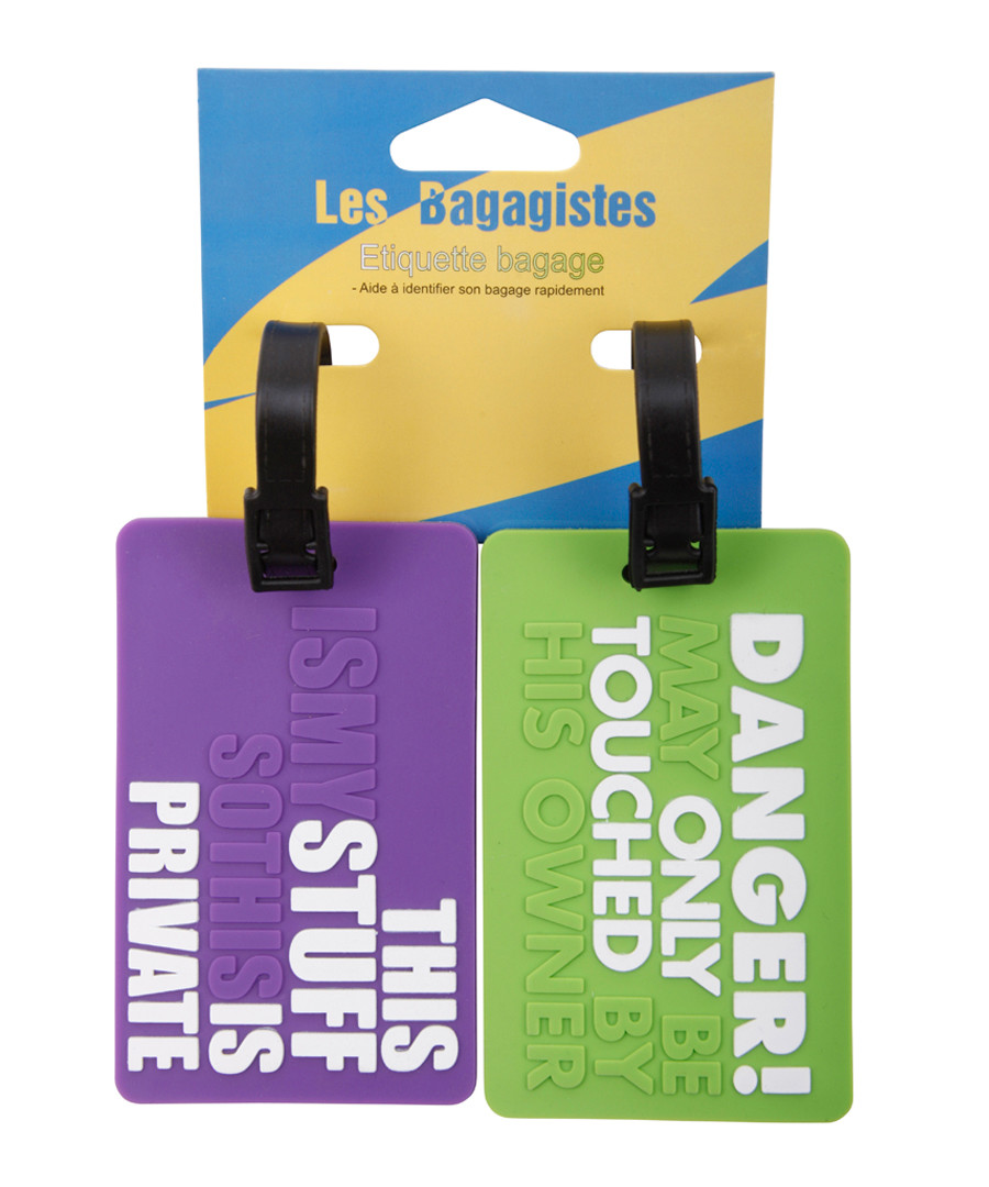 2pc Purple & green printed luggage tags Sale - les bagagistes