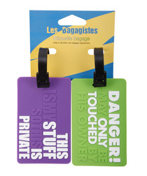 2pc Purple & green printed luggage tags