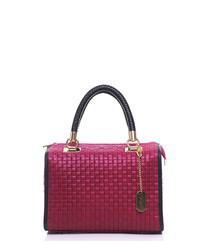 Fuchsia leather weave grab bag