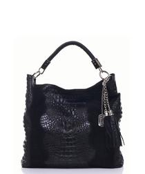 Black leather moc-croc shoulder bag