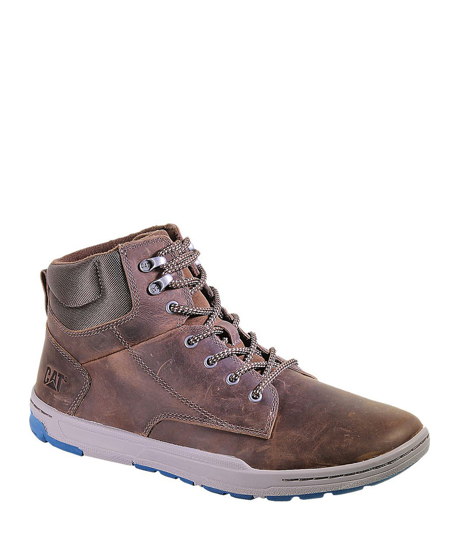 Men's dark brown leather hi-tops Sale - Caterpillar