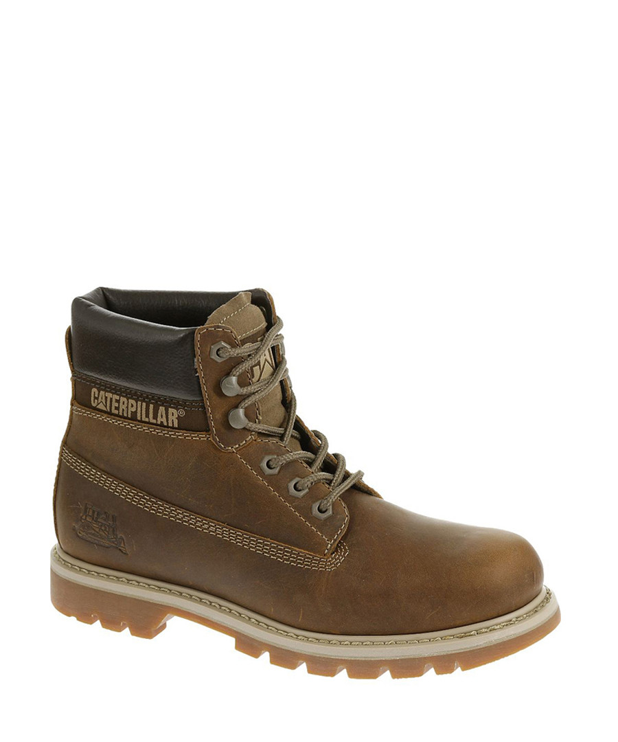 Men's beige leather lace up ankle boots Sale - Caterpillar