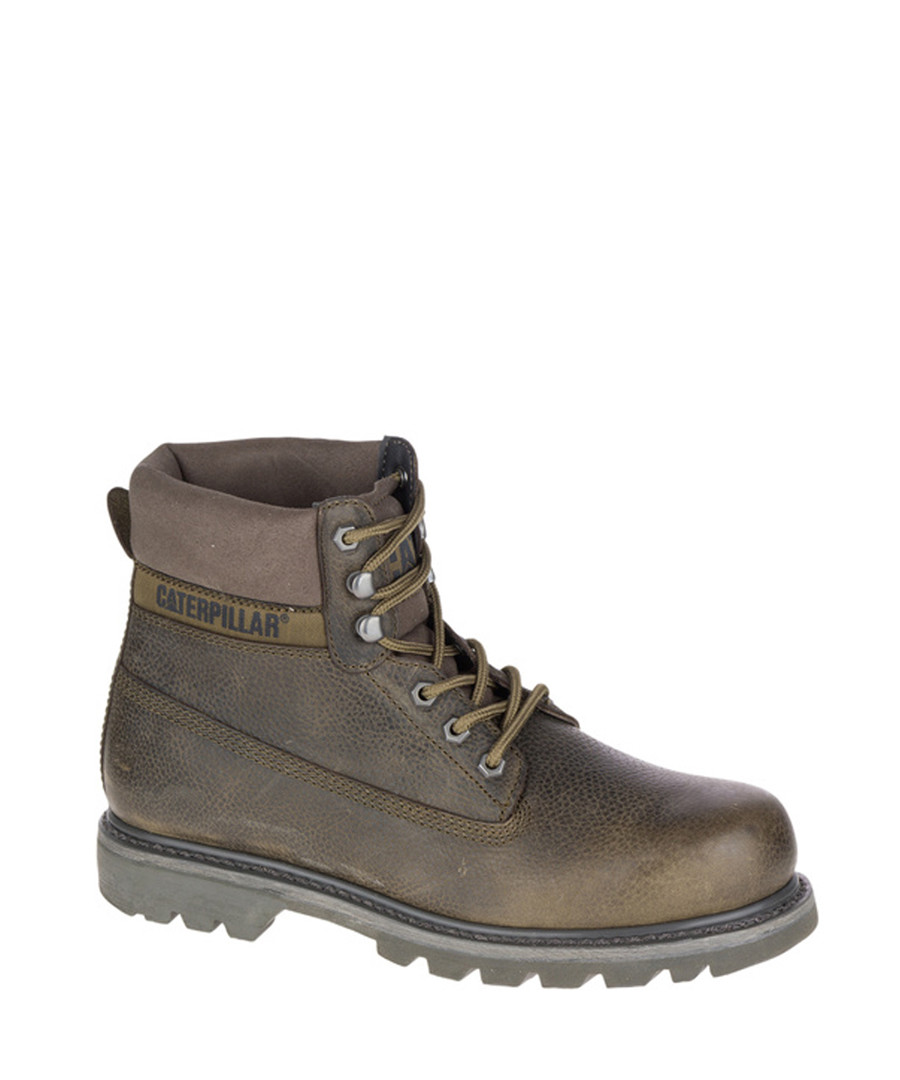 Olive leather lace-up ankle boots Sale - Caterpillar