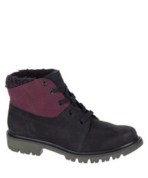 Women's Black & wine leather ankle boots