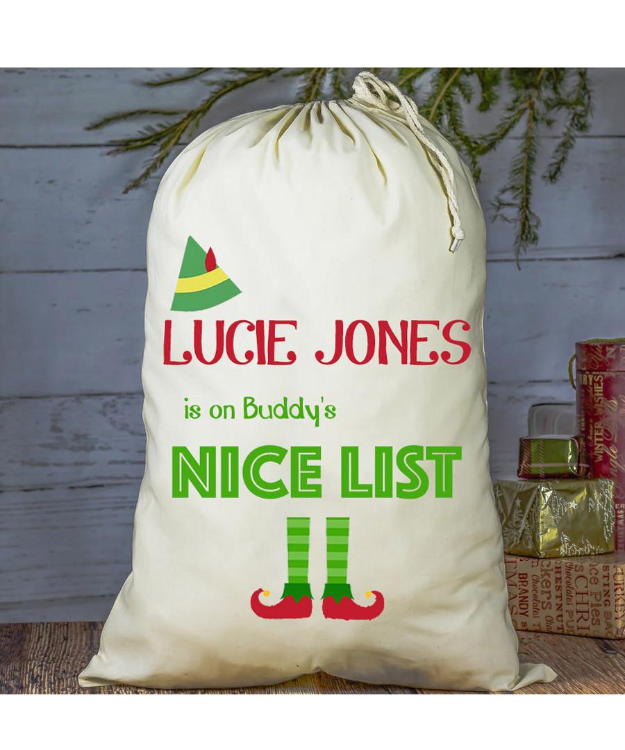 Buddy the Elf personalised present sack Sale - Treats on Trend