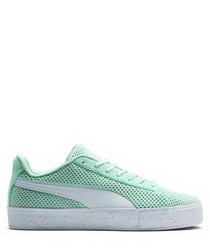 X DP green suede platform sneakers