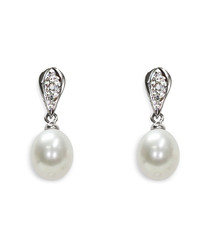 0.8cm Classica white pearl earrings