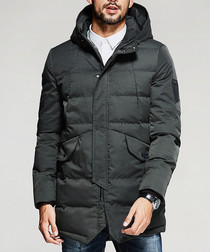 Green hooded puffer down jacket
