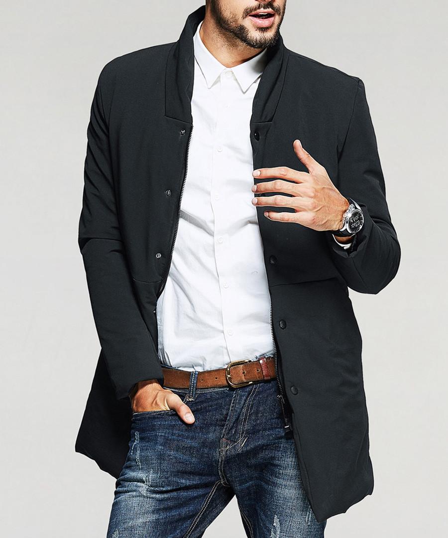Black collared zip up down jacket Sale - kuegou