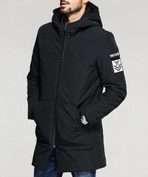 Black patch detail hooded down jacket