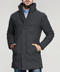 Charcoal cotton blend high neck coat