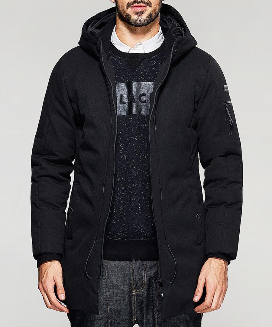 Black hooded zip up coat Sale - kuegou