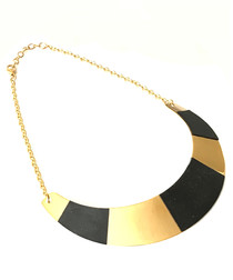 18ct gold-plated & black necklace