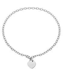 Silver-plated heart charm necklace