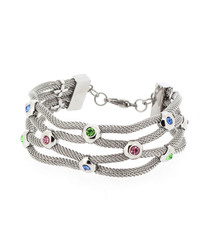 Silver-plated & gemstone braid bracelet