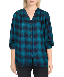 Come On Over navy check button-up top