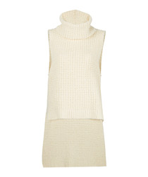 White pure cotton roll neck knit top