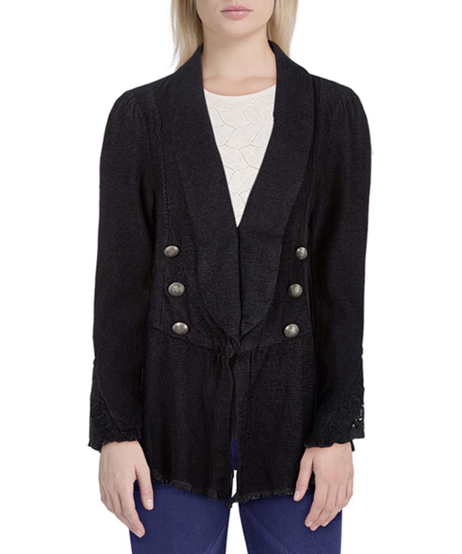 Black cotton blend flared blazer Sale - free people