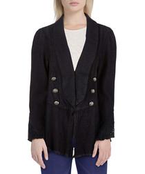 Black cotton blend flared blazer