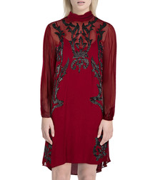 Wine brocade detail semi sheer dress