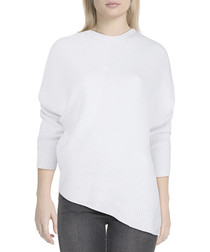 White cotton blend asymmetric jumper