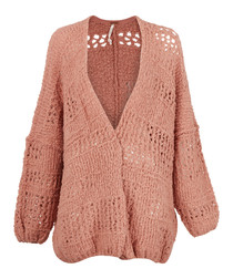Pink wool blend V-neck knit cardigan