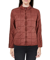 Brown quilted zip-up jacket