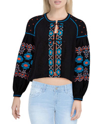 Black embroidered tie-up jacket