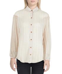 Peach cotton blend loose sleeve blouse