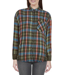 Green pure cotton check button-up shirt