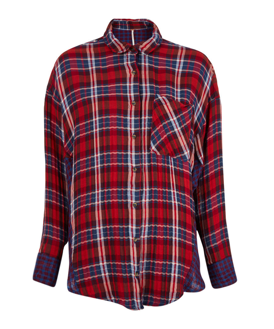 Red pure cotton check button-up shirt Sale - free people