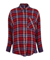 Red pure cotton check button-up shirt