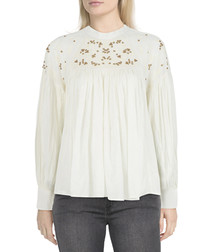 White embroidered long sleeve blouse