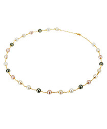 Gold-plated multi-coloured necklace