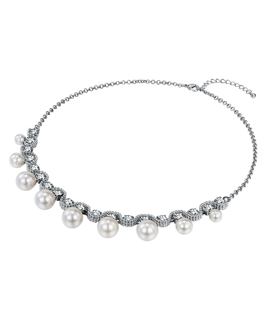 Silver-tone embellished pearl necklace Sale - runway